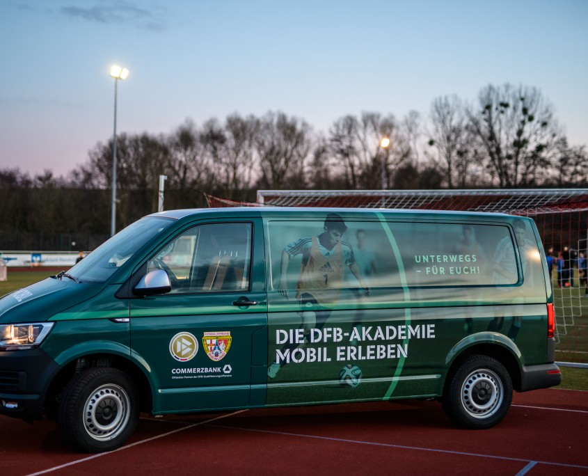 NIEDERZISSEN, GERMANY - FEBRUARY 19: The new VW Van of the DFB-Mobil is seen during the DFB-Mobil visit on February 19, 2019 in Niederzissen, Germany. (Photo by Jörg Schüler/Getty Images)